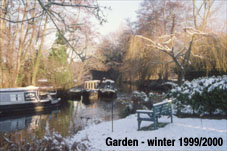 Surrey snow on the Goodall's garden overlooking the river Wey